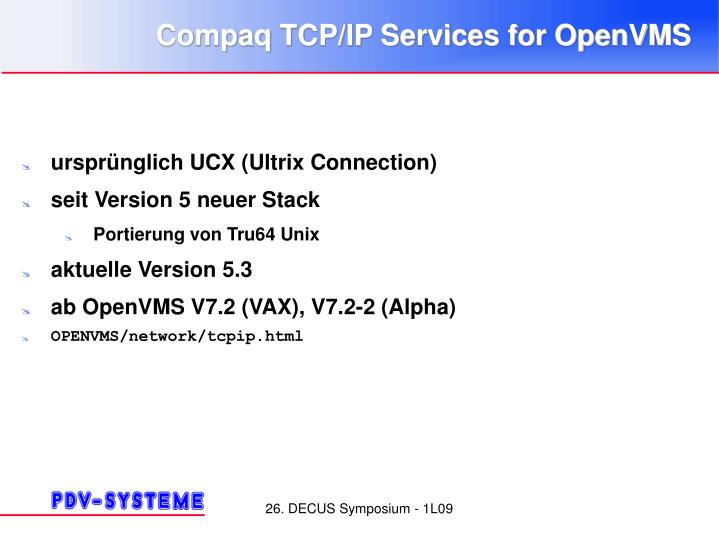 Compaq TCP/IP Services for OpenVMS