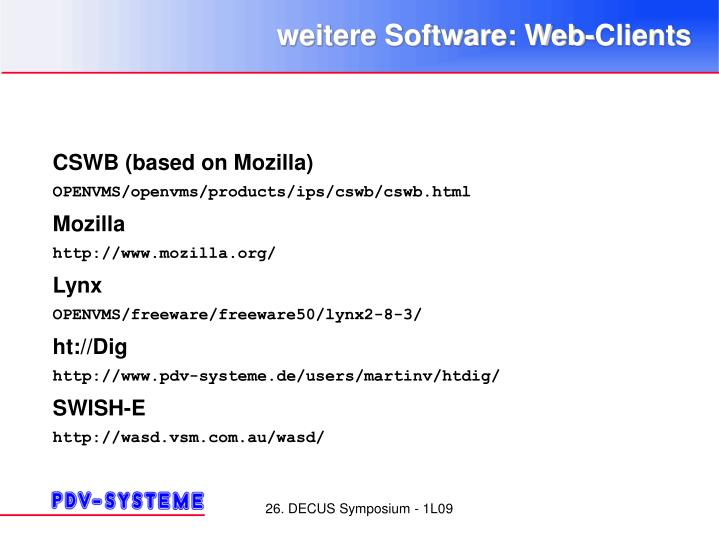 weitere Software: Web-Clients