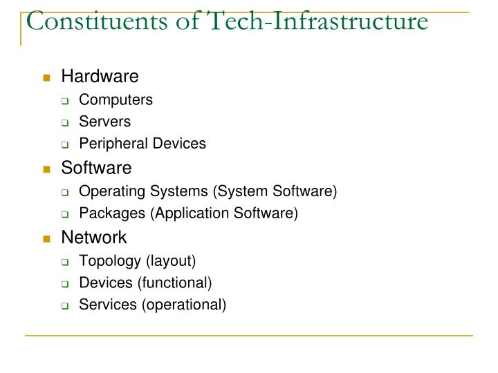 Constituents of tech infrastructure