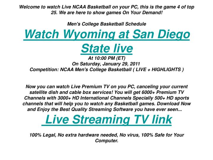 Welcome to watch Live NCAA Basketball on your PC, this is the game 4 of top 25. We are here to show ...