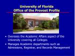 university of florida office of the provost profile