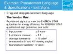 example procurement language specifications exit signs