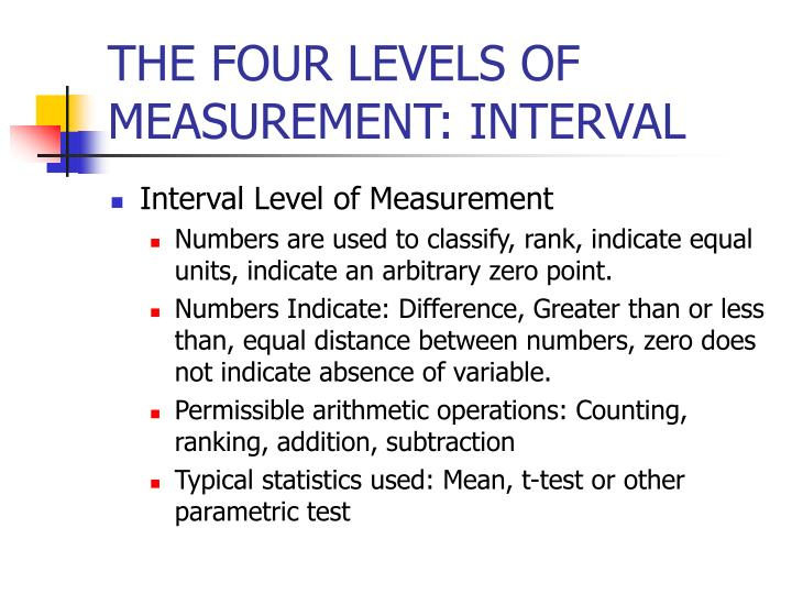 THE FOUR LEVELS OF MEASUREMENT: INTERVAL