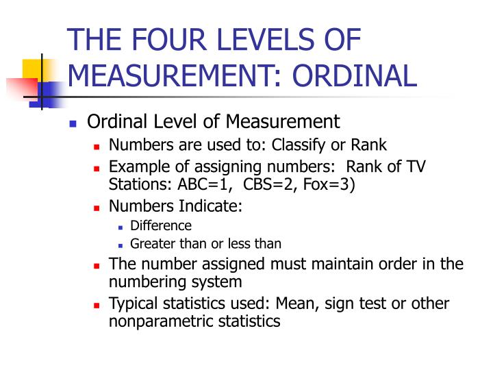 THE FOUR LEVELS OF MEASUREMENT: ORDINAL