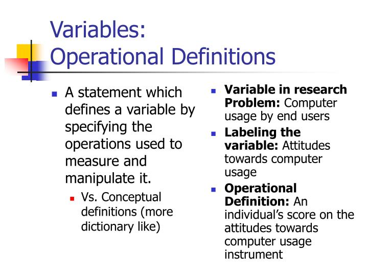 Variables operational definitions