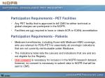 participation requirements pet facilities