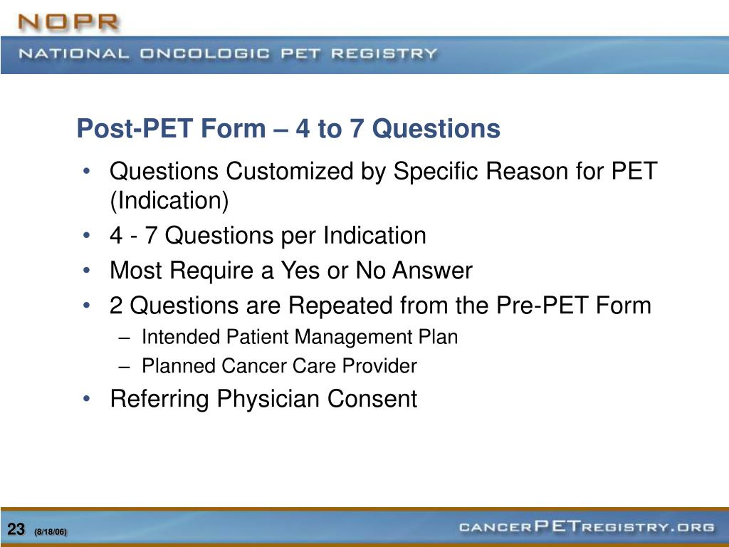 Post-PET Form – 4 to 7 Questions