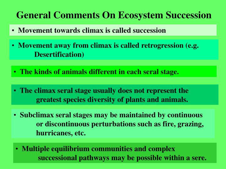 General Comments On Ecosystem Succession