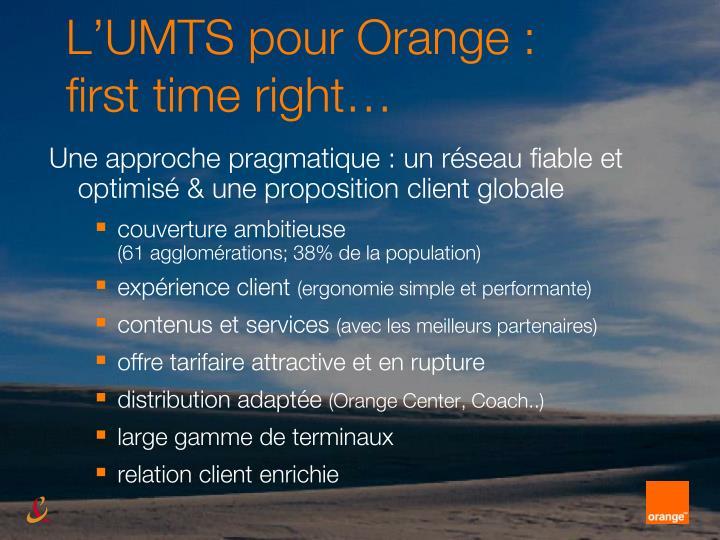 L'UMTS pour Orange :