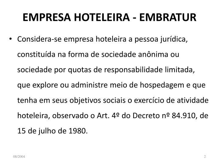 Empresa hoteleira embratur