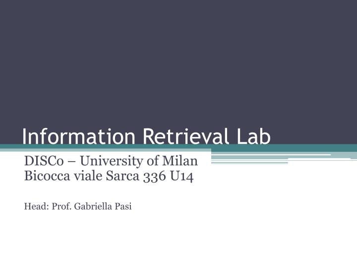 information retrieval lab n.