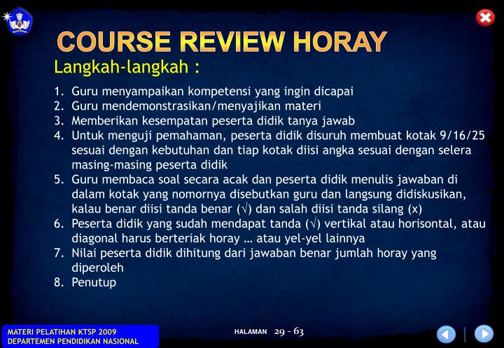 COURSE REVIEW HORAY