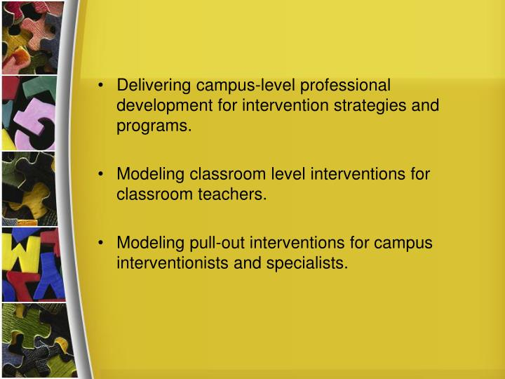 Delivering campus-level professional development for intervention strategies and programs.