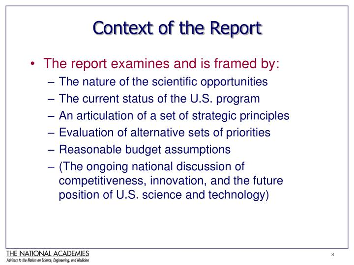 Context of the report