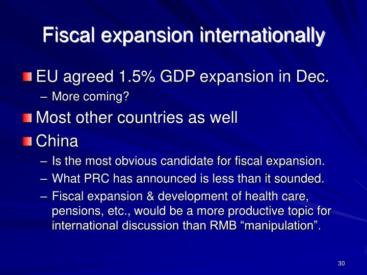 Fiscal expansion internationally