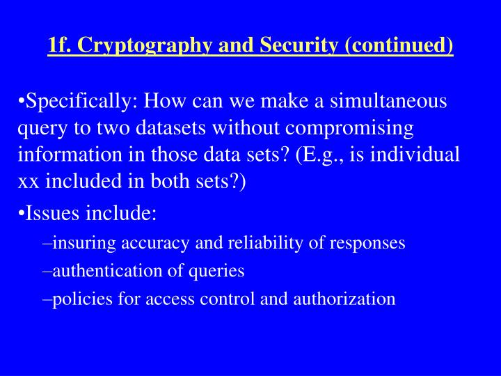 1f. Cryptography and Security (continued)