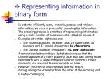representing information in binary form