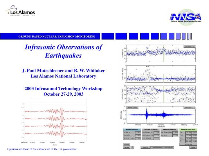 Infrasonic Observations of Earthquakes