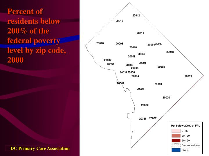 Percent of residents below 200% of the federal poverty level by zip code, 2000