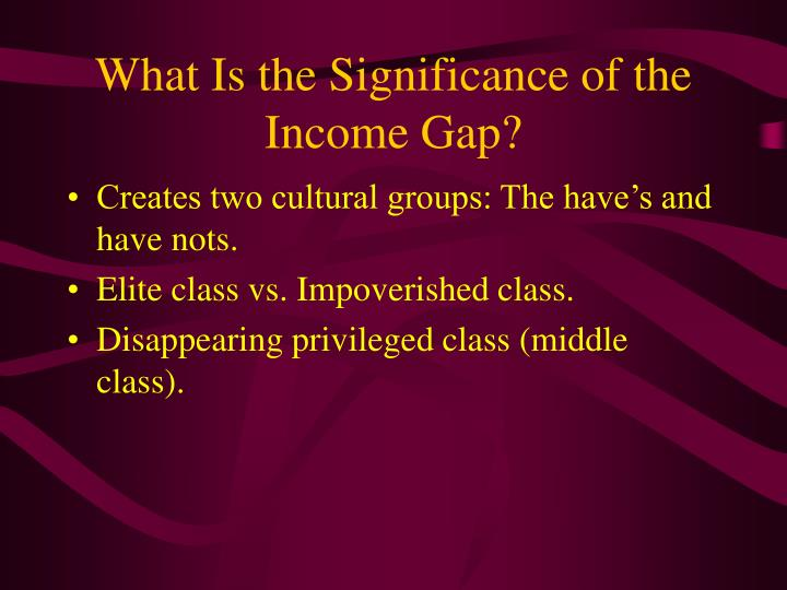 What is the significance of the income gap