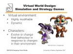 virtual world design simulation and strategy games