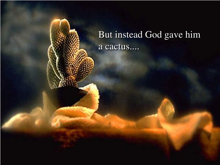 But instead God gave him a cactus....