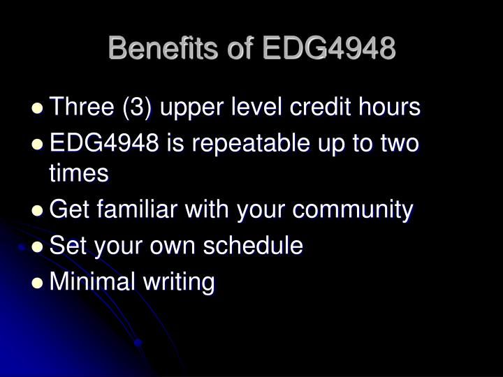 Benefits of EDG4948