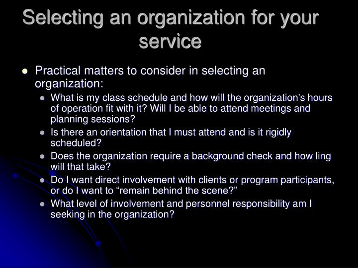 Selecting an organization for your service