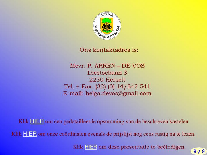 Ons kontaktadres is: