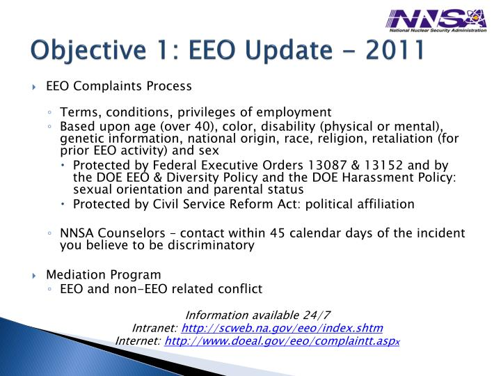 Objective 1: EEO Update - 2011