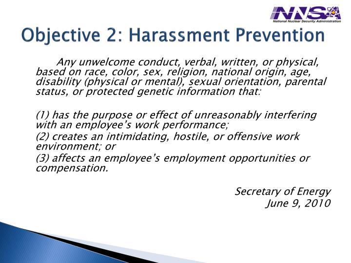 Objective 2: Harassment Prevention