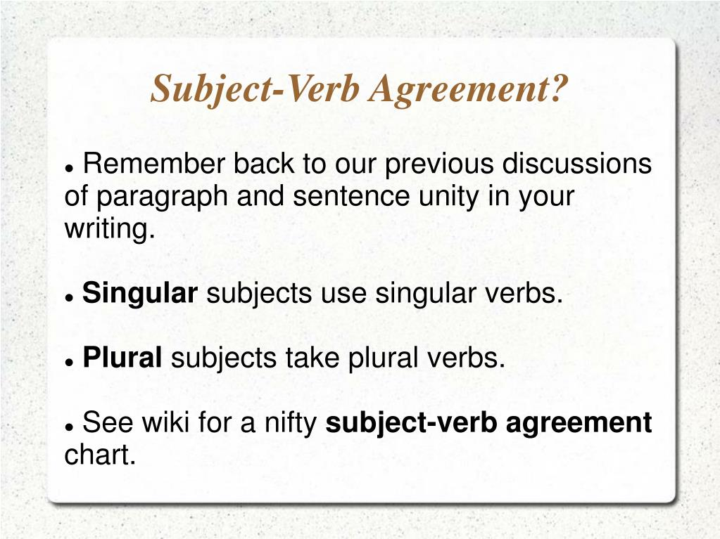 Ppt Subject Verb Agreement Powerpoint Presentation Id812526