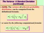 the variance standard deviation continued