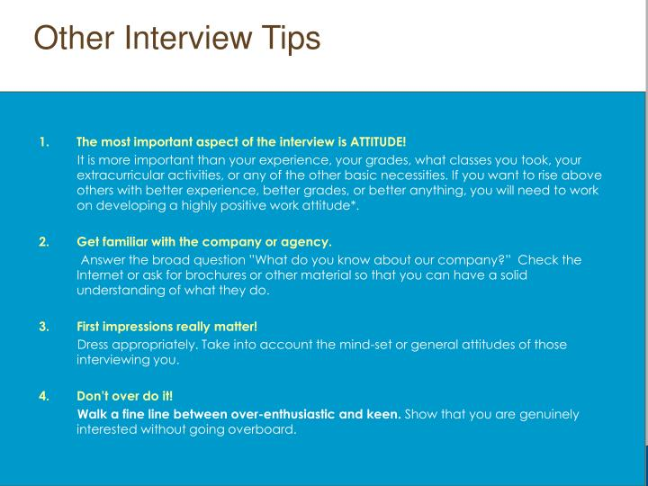 Other Interview Tips