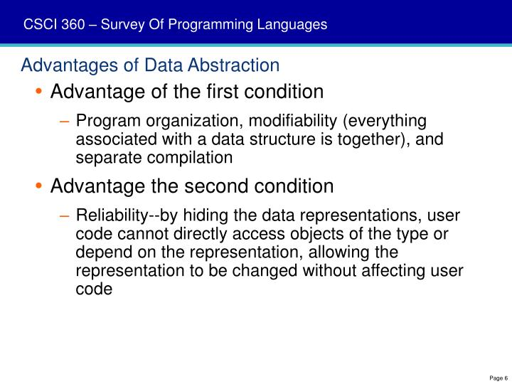 Advantages of Data Abstraction