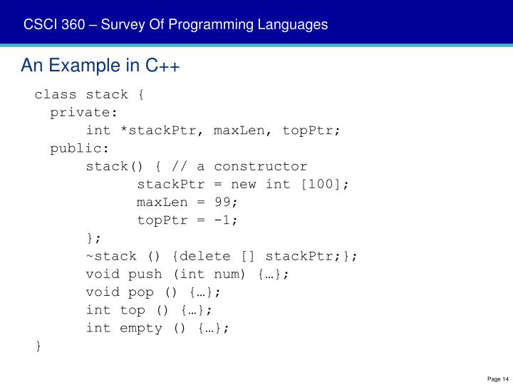 An Example in C++