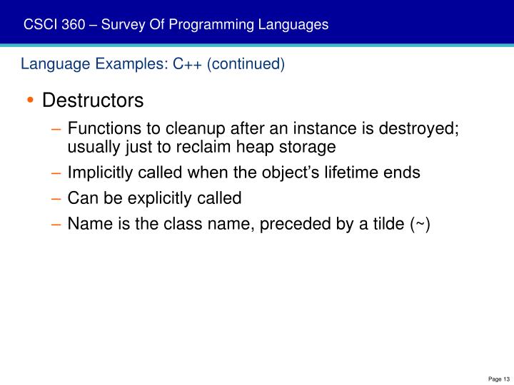 Language Examples: C++ (continued)