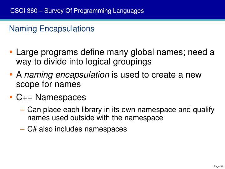 Naming Encapsulations