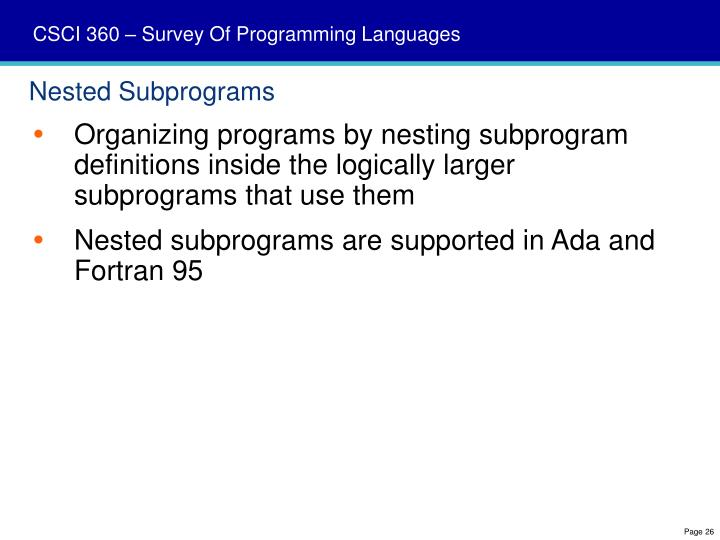 Nested Subprograms
