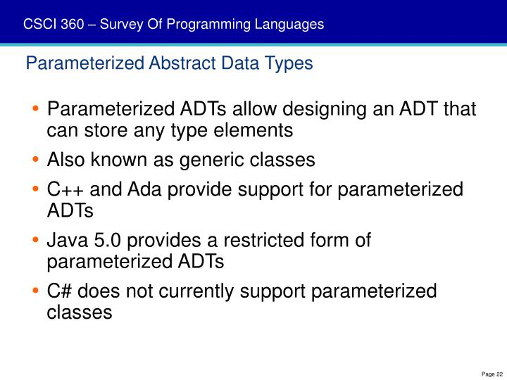 Parameterized Abstract Data Types