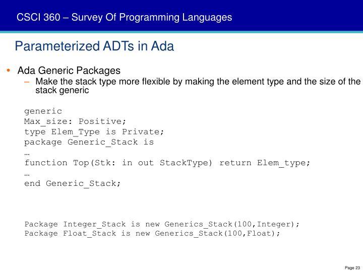 Parameterized ADTs in Ada