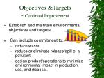 objectives targets continual improvement