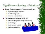 significance scoring prioritize