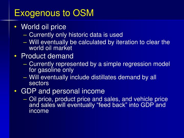 Exogenous to OSM