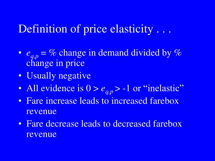 Definition of price elasticity . . .
