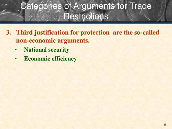 Categories of Arguments for Trade Restrictions