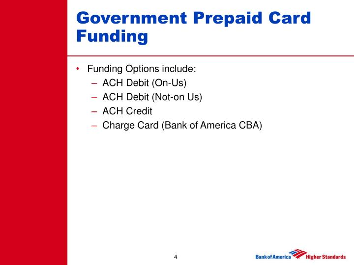 Government Prepaid Card Funding