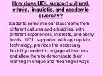 how does udl support cultural ethnic linguistic and academic diversity
