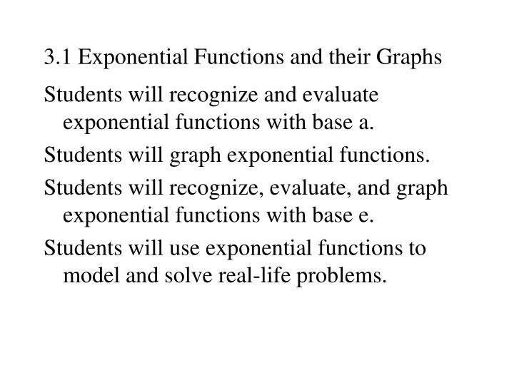 3 1 exponential functions and their graphs n.