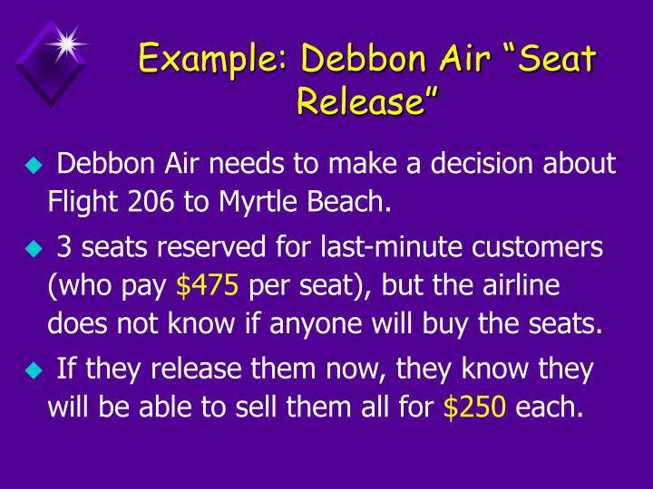"""Example: Debbon Air """"Seat Release"""""""